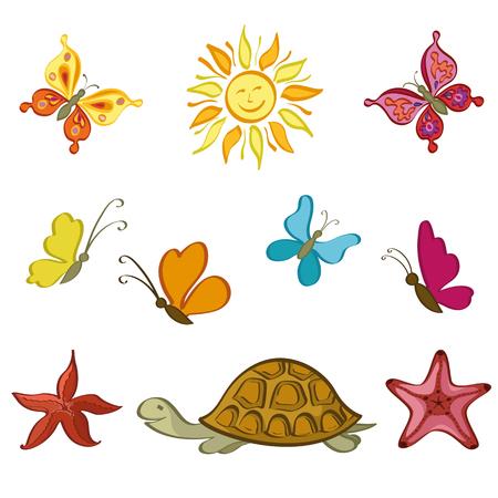 summer season: Exotic Cartoon Set, Sun, Butterflies, Sea Turtles and Starfish Isolated on White Background. Vector
