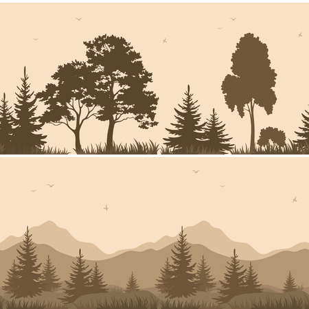 pine tree silhouette: Set Seamless Horizontal Landscapes, Forest and Mountains with Trees and Grass, Birds in the Sky, Brown Silhouettes.