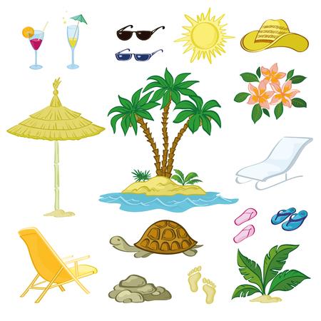 schildkroete: Exotisch und Strand Objekte Set, Sonne, Palmen auf der Insel, Blumen, Blätter, Brille, Hut, Sonnenschirm, Strandkorb, Turtle, Hausschuhe, Stones, Abdrücke im Sand auf weißen Hintergrund. Vector