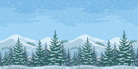 abeto: Horizontal inconsútil de la Navidad invierno paisaje de montaña con abetos y árboles de cielo con nieve. Vector