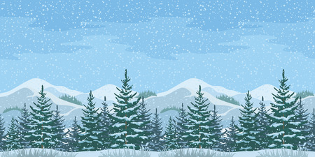 Horizontal Seamless Christmas Winter Mountain Landscape with Firs Trees and Sky with Snow. Vector