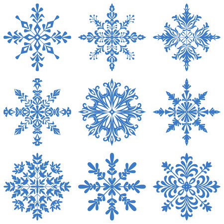 newyear: Christmas Decoration, Set Blue Silhouette Snowflakes on White Background. Vector Illustration