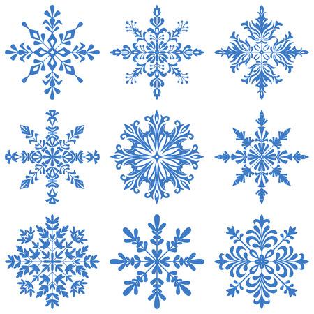 snowflake set: Christmas Decoration, Set Blue Silhouette Snowflakes on White Background. Vector Illustration