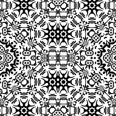 contours: Seamless Floral Pattern, Black Contours Isolated on White Background. Vector