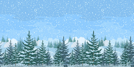 Seamless Horizontal Christmas Winter Forest Landscape with Firs Trees and Sky with Snow.