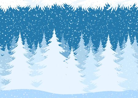 siberia: Seamless Horizontal Christmas Winter Forest Landscape with Snow and Fir Trees and Branch Silhouettes. Vector Illustration
