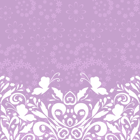 symbolical: Seamless Abstract Background, Symbolical Butterflies White Silhouettes and Floral Pattern. Eps10, Contains Transparencies. Vector