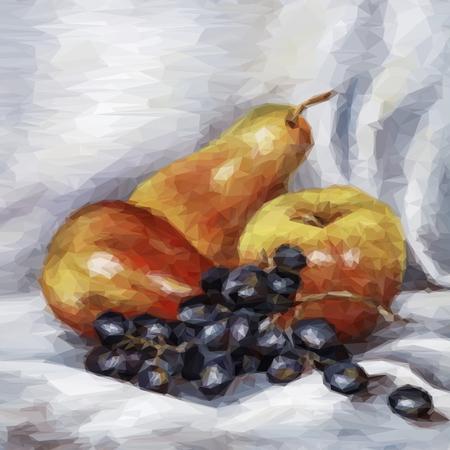Todavía Life Fruits manzanas, peras y uvas. Vector