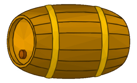 hogshead: Traditional Wine Wooden Barrel with a Stopper and Hoops, Isolated on White Background. Vector