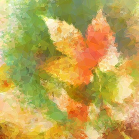 Zusammenfassung Low-Poly-Muster, bunten Hintergrund mit Symbolische Blätter. Vektorgrafik