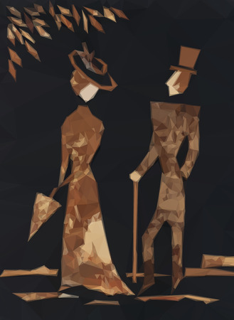 past: Gentleman and Lady Walking, Low Poly Vintage Style.