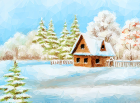 x country: Winter Christmas Landscape, Rustic House on Snowy Forest Edge, Low Poly. Vector