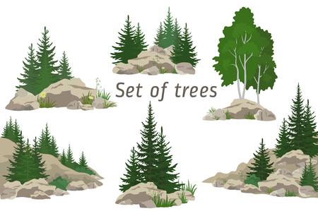 風景: セットの風景は、白い背景の針葉樹と落葉広葉樹の木、花、草、岩の上に分離されました。ector