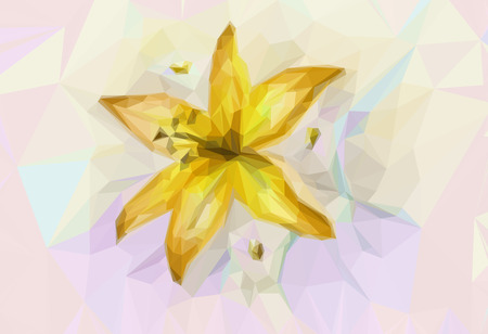 Floral Low Poly Pattern with Yellow Lily.