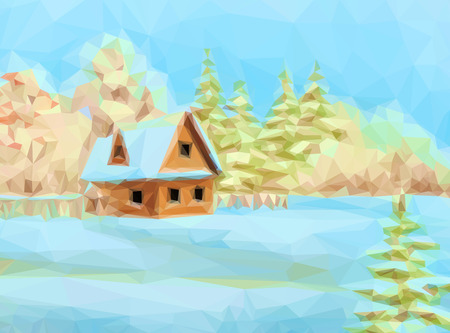 x country: Winter Christmas Landscape, Rustic House on Snowy Forest Edge, Low Poly.