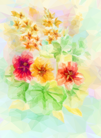 nasturtium: Flowers Bouquet, Polygonal Low Poly Colorful Pattern.