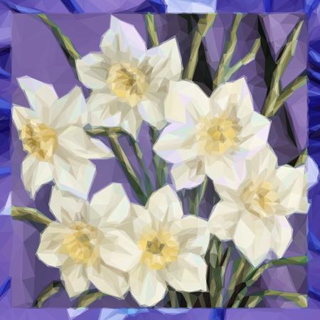 Flowers Bouquet, Polygonal Low Poly Colorful Pattern. Vektoros illusztráció