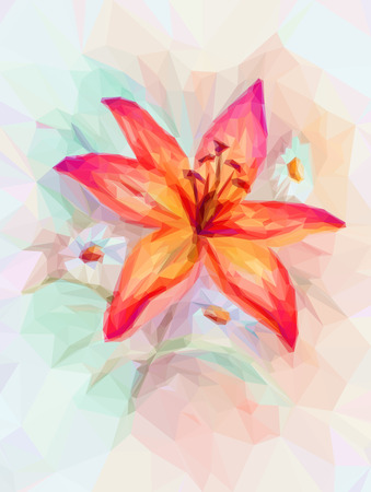 Floral Low Poly Pattern, Bouquet with Red Lily.