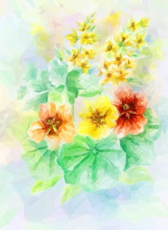 nasturtium: Flowers Bouquet, Polygonal Low Poly Colorful Pattern.