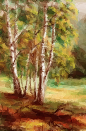 Landscape, Autumn Forest, Low Poly Geometrical Polygonal Colorful Pattern. Vector Illustration