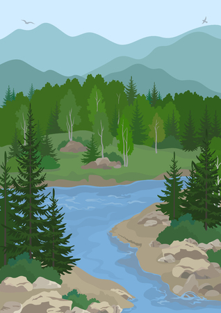 river rock: Summer Mountain Landscape with Blue River, Green Fir, Birch Trees and Bushes on the Rocky Shore and Birds in the Sky. Vector Illustration