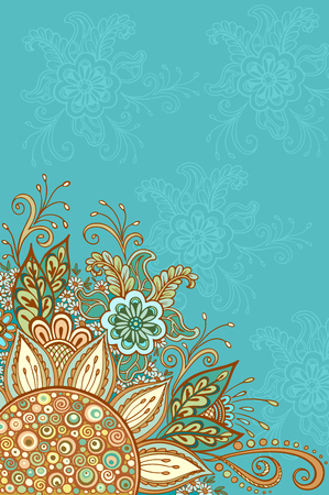 abloom: Abstract Background, Floral Ornament, Colorful and Outline Contour Pattern, Symbolic Flowers and Leafs. Vector Illustration