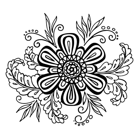 abloom: Calligraphic Vintage Pattern, Symbolic Flower and Leafs, Abstract Floral Outline Ornament, Black Contours Isolated on White Background. Vector