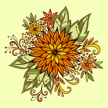 abloom: Pattern, Symbolic Colorful Flower and Leafs, Floral Ornament. Vector
