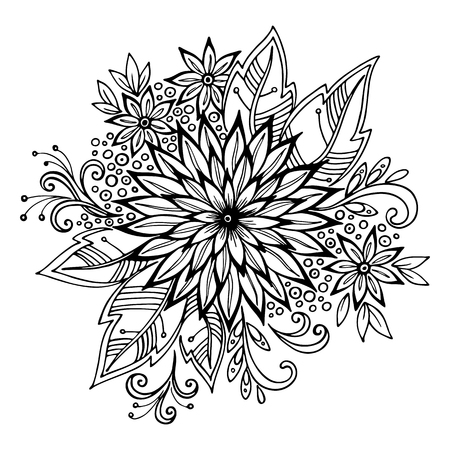 blackandwhite: Calligraphic Vintage Pattern, Symbolic Flowers and Leafs, Abstract Floral Outline Ornament, Black Contours Isolated on White Background. Vector Illustration