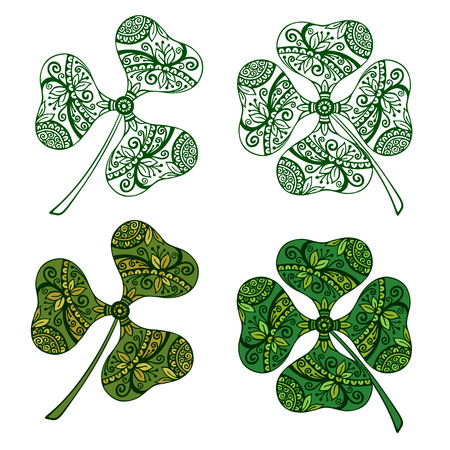 trifolium: Clover Plants With a Symbolical Floral Pattern, With Three Leaves and Four-Sheeted Quadrifoliate Tetraphyllous Happy, Colorful and Green Monochrome Contours, Isolated on White Background. Vector