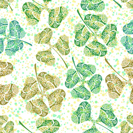 trifolium: Seamless Background, Tile Ornament, Clover Plants with a Symbolical Floral Pattern, with Three Leaves and Four-Sheeted Quadrifoliate Tetraphyllous Happy. Vector Illustration