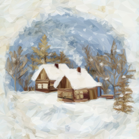 dacha: Christmas Landscape, Village Houses in the Winter Snowy Forest, Low Poly. Vector