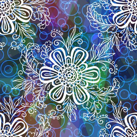 abloom: Seamless Background with Tile Contours Floral Pattern, Symbolic Flowers and Leafs and Abstract Ornament. Eps10, Contains Transparencies. Vector Illustration