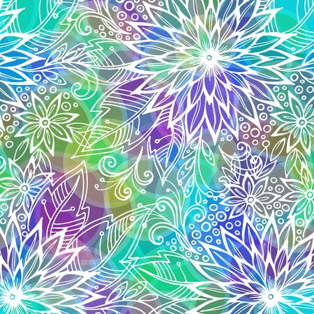 Background with Contours Floral Pattern, Symbolic Flowers and Leafs and Abstract Ornament. Eps10, Contains Transparencies. Vector