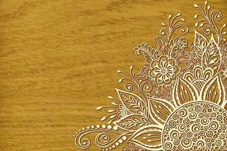 Motif Vintage Calligraphie, fleurs symboliques et des feuilles, floral abstrait Contour ornement, Contours sur la texture du bois, Chêne Veneer