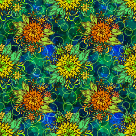 abloom: Seamless Background with Tile Floral Pattern, Symbolic Flowers and Leafs and Abstract Ornament. Eps10, Contains Transparencies. Vector Illustration