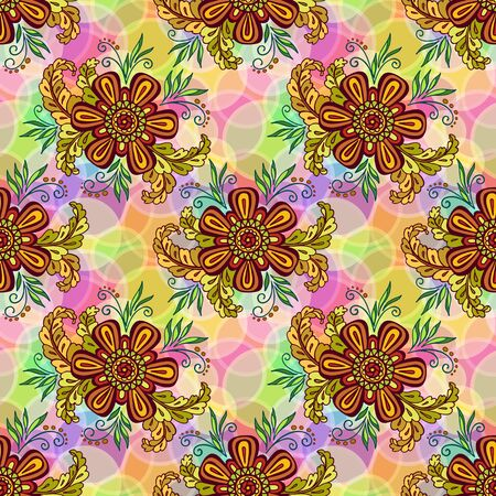 Seamless Background with Tile Floral Pattern, Symbolic Flowers and Leafs and Abstract Ornament. Eps10, Contains Transparencies. Vector Illustration