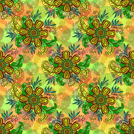 abloom: Seamless Background with Tile Floral Pattern, Symbolic Flowers and Leafs and Abstract Ornament. , Contains Transparencies. Vector