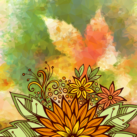 abloom: Floral Ornament, Colorful Pattern, Symbolic Flowers and Leafs on Low Poly Geometrical Background. Vector Illustration