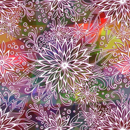 abloom: Seamless Background, Tile Outline Floral Pattern, Symbolic White Flowers, Leafs and Rings Contours on Abstract Colorful Polygonal Ornament. Eps10, Contains Transparencies. Vector Illustration