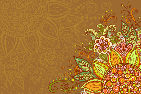 abloom: Abstract Background, Floral Ornament, Colorful Pattern, Symbolic Flowers and Leafs. Vector