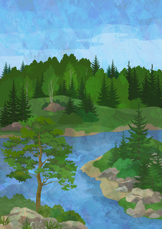 Landscape, Forest with Pine and Fir Trees, Stones and Green Grass on the Shore of a Mountain River on Hand-Draw Oil Paint Painting Background Stock Photo