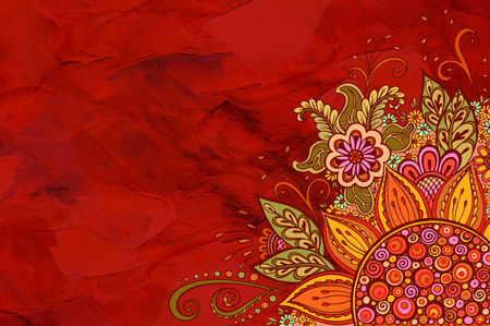 symbolic: Floral Pattern, Symbolic Flowers and Leafs, Colorful Ornament on Red Hand-Draw Oil Paint Painting Background