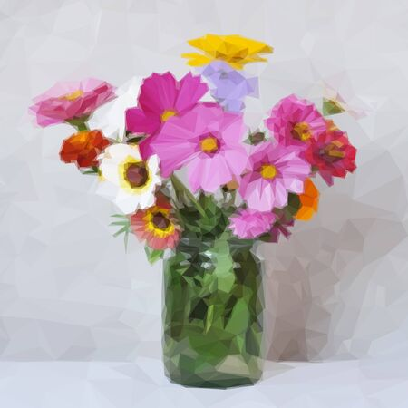 abloom: Flowers Bouquet in a Green Transparent Glass Jar, Low Poly. Vector