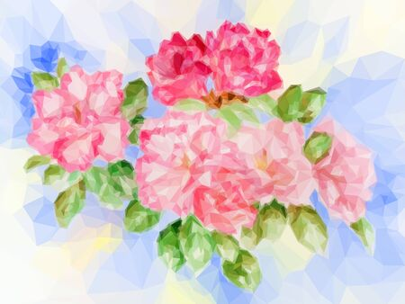 abloom: Background with Colorful Low Poly Floral Pattern. Vector