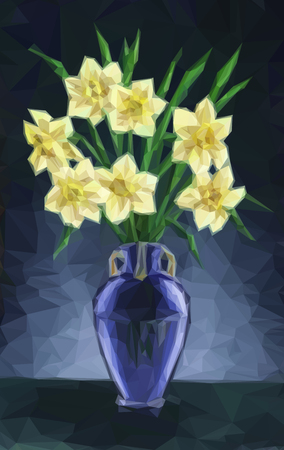 Flowers Narcissus Bouquet in a Green Transparent Glass Vase, Low Poly. VectorFlowers Narcissus Bouquet in a Blue Vase, Low Poly. Vector Illustration