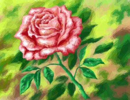 Flor roja Rose en el fondo verde, patrón bajo de Poly. Vector