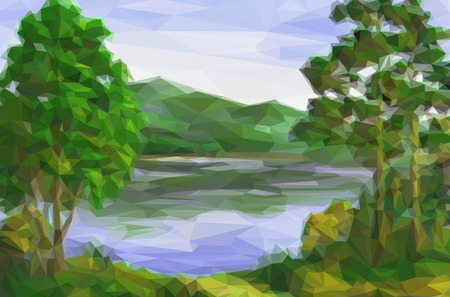 bucolical: Landscape, Trees on the Shore of a Mountain Lake, Low Poly. Vector