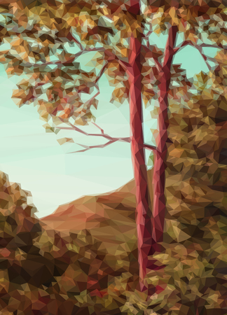 bucolical: Landscape, Autumn Forest with Red Trees, Low Poly. Vector Illustration