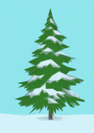 conifer: Winter Landscape, Christmas Holiday Green Fir Tree, Snow and Blue Sky, Low Poly. Vector Illustration